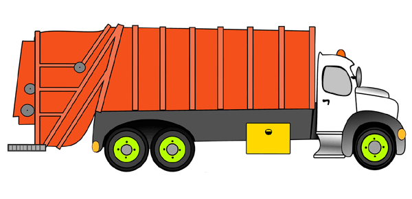 cartoonized image of a garbage truck