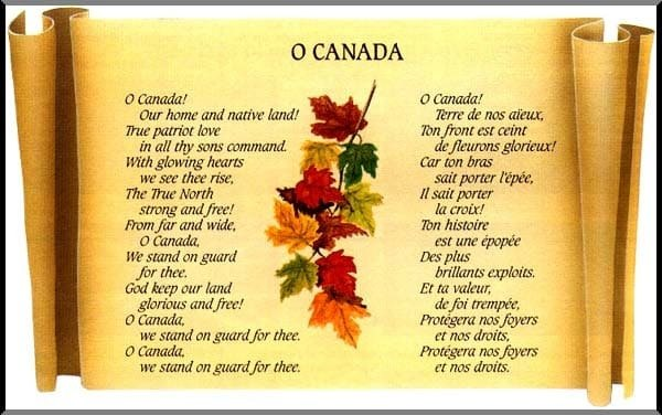 poem of O Canada on a scroll