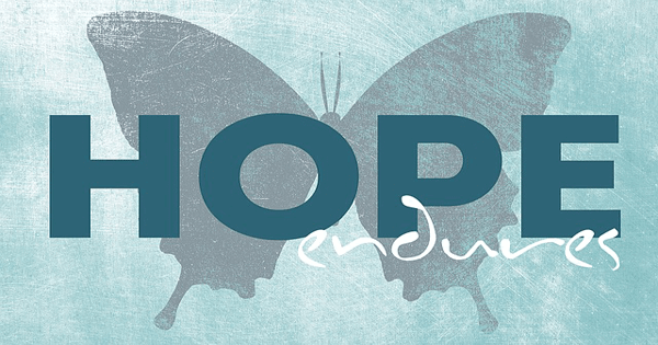 "The words ""HOPE endures"" overtop a silhouette of a butterfly"