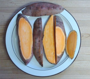 yam slices on a plate
