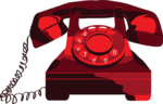 a graphic of an old dial telephone