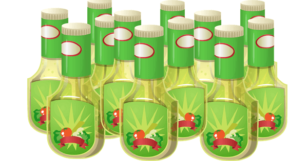graphic drawing of bottles of salad dressing