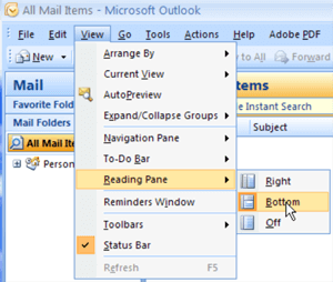 View menu Outlook 2007