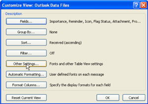 Outlook Data Files window
