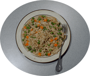 a picture of my chicken fried rice on a plate, used as a header image