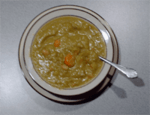 a bowl of my homemade green split pea soup