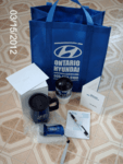 Ontario Hyundai's keepsake bag with other items of use inside, as their Thank YOU to me!