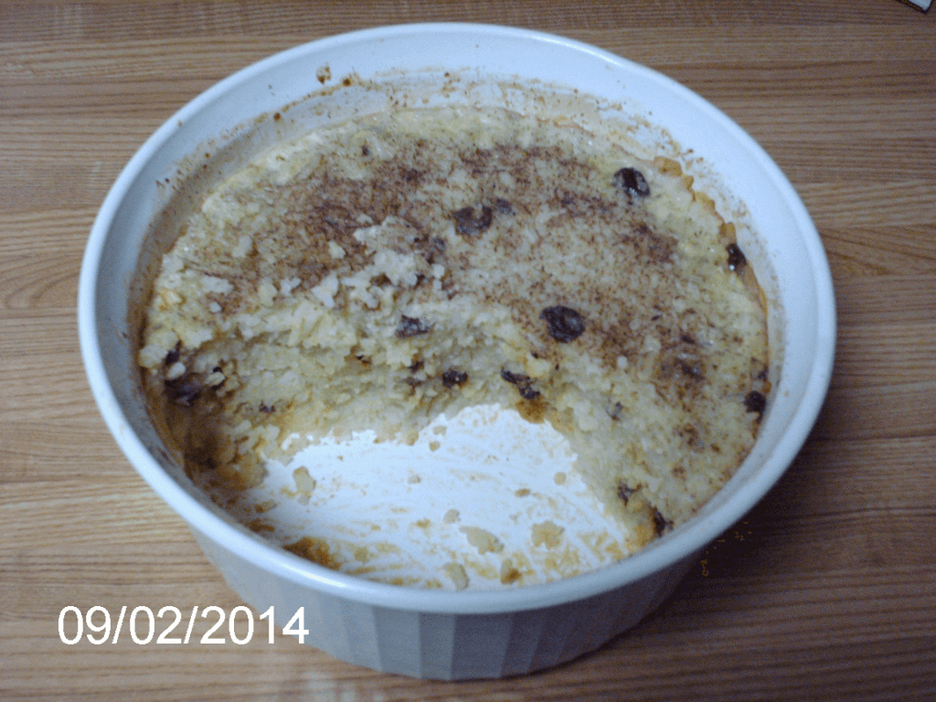 casserole dish with my rice pudding - two servings removed, used as a header image