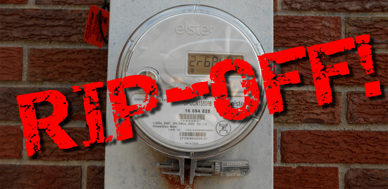 hydro smart meter with RIP OFF! text over top, used as a header image