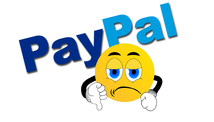 sad smilie icon showing thumbs down and PayPal in background