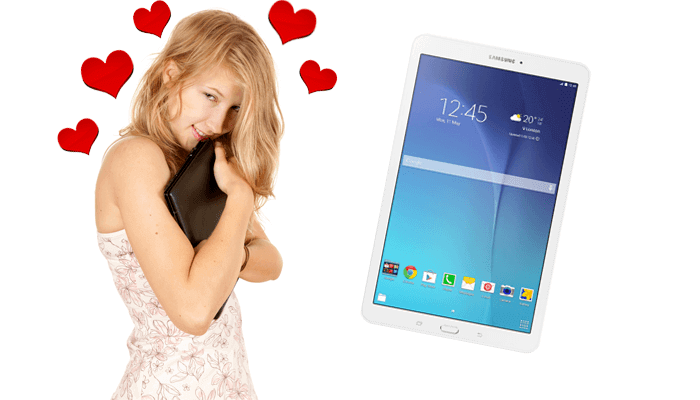 lady hugging her computer with a Samsung tablet pictured beside her, used as a header image