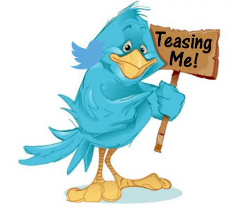 cartoon blue bird holding a sign with Teasing Me! on it, used as a header image