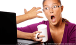 Lady sitting in front of a monitor with coffee cup, shocked look on her face as hand comes out of monitor at her - used as header image