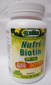 picture of a bottle of Naka Nutri Biotin supplements