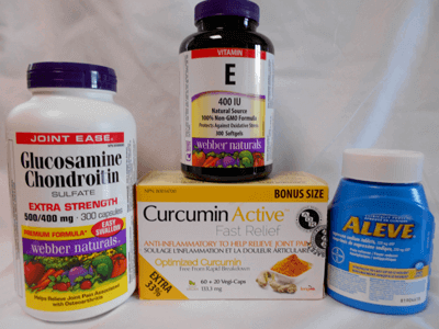 curcumin and Aleve anti-inflammatories, vitamin E, and Glucosamine Chondroitin Sulfate Extra Strength supplements