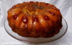 peach upside-down cake on a serving platter