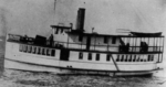 black and white photograph of an old steamboat