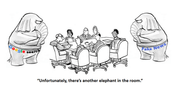 cartoon depiction of a boardroom table with people sitting at it, two elephants off to each side of the table, and the leader of the meeting saying,