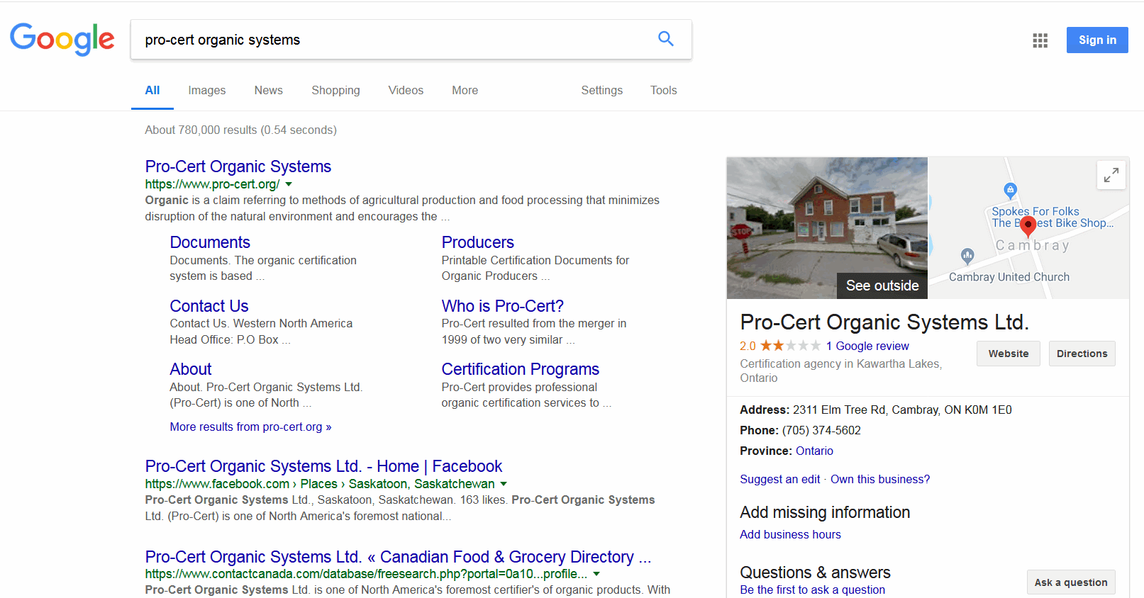 screen print of my Google search results for pro-cert organic systems