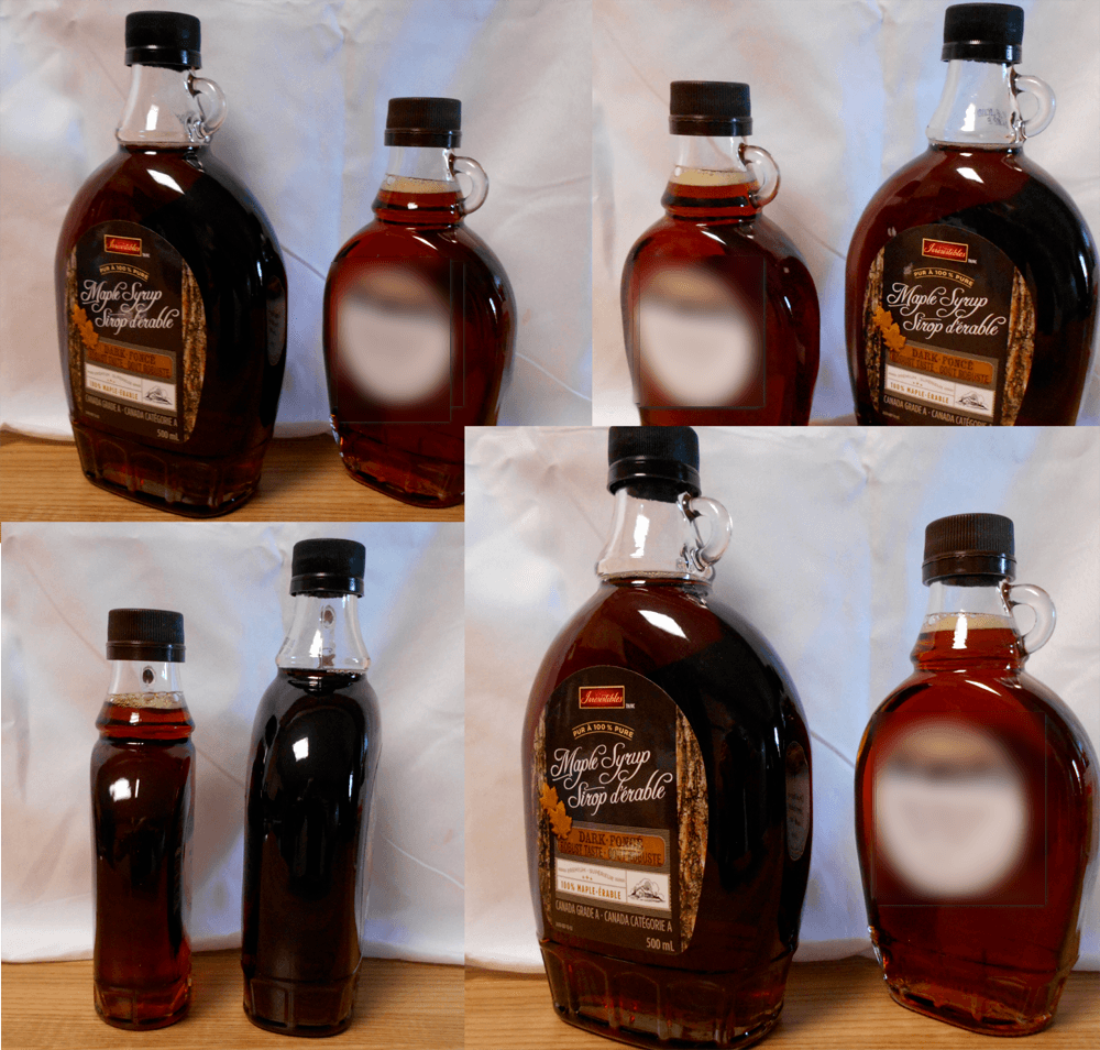four images at different angles showing the differences in colour between store bought maple syrup and supposed to be organic maple syrup of the same grade
