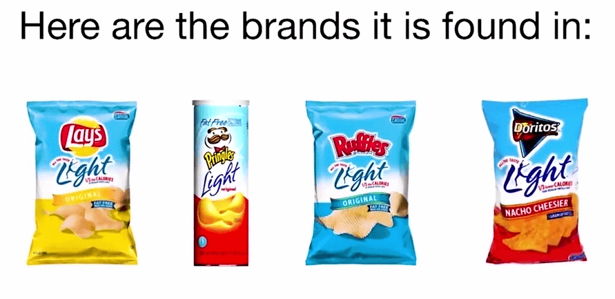 picture of 4 known brands said to contain olestra