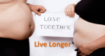 """profile of a man's over-sized belly, on the left and a woman's over-sized belly on the right, and their holding a note between them that states """"Lose Together"""""""