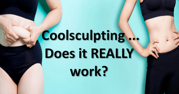 "female torsos showing before and after fat loss - text reads ""coolsculpting... does it REALLY work?"""