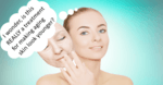"""picture of a lady with her face looking younger and her older mask like face in her hand. Thought bubble saying """"I wonder, is this REALLY a treatement for making aging skin look younger?"""""""