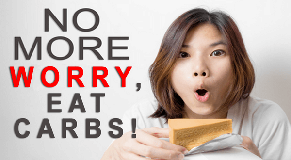 "a woman pictured about to eat a sweet desert and looking shocked. Text reads ""no more worry, eat carbs!"""