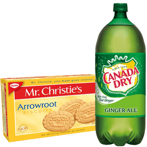 picture of a box of Arrowroot baby cookies and a large bottle of Canada Dry Ginger Ale