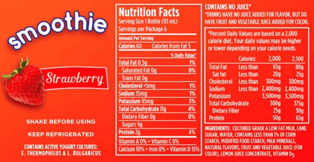 product label from strawberry smoothie