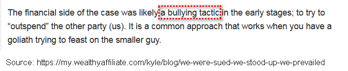 screen print of a paragraph explaining bullying tactics that were used