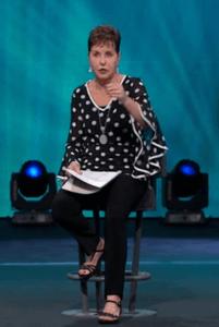 screen print of Joyce Meyer giving her sermon on 30 October 2018