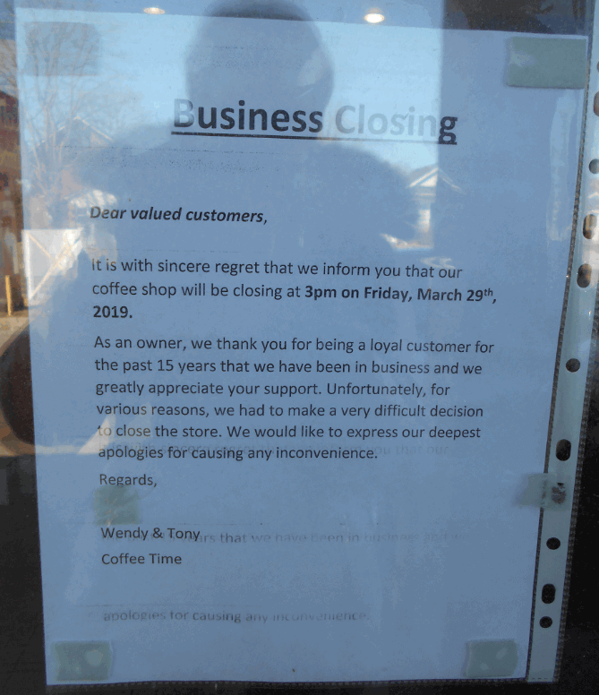 Coffee Time on Ritson Rd. N., Oshawa's announcement regarding business closing