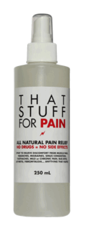 "picture of the large bottle of ""That Stuff for Pain"""