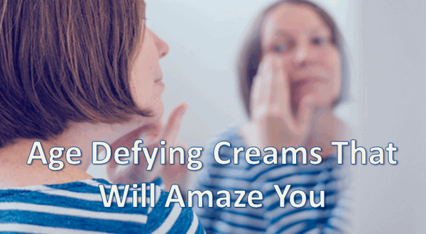 "picture of woman putting on cream, text over top states ""age defying creams that will amaze you"""