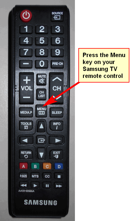 image of the remote control, pointer showing the MENU button
