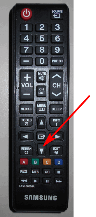 tv remote control with pointer showing down arrow