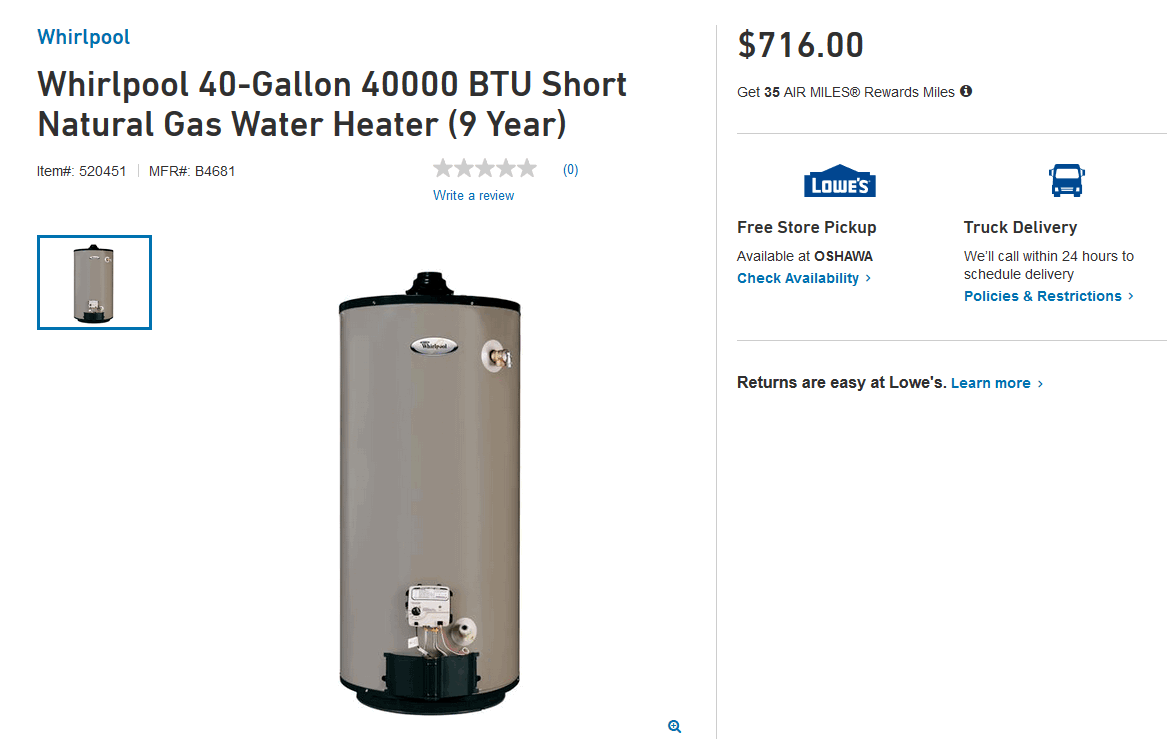 Whirlpool 40-Gallon 40000 BTU Short Natural Gas Water Heater (9 Year)