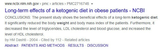 screen print from Google search Long-term effect on a ketogenic diet...