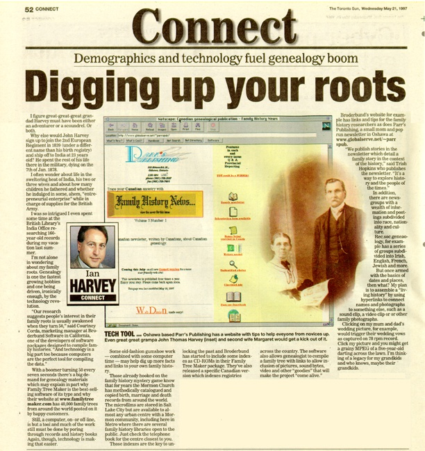 The Toronto Sun - featured Canada's Family History News newsletter